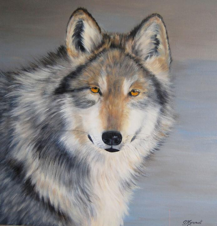 Patricia Hyvernat - Lobo loup gris du Mexique  acrylique sur  toile